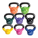 Body-Solid Vinyl Coated Kettlebell Set, 5-20 Pounds